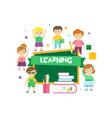 cute happy schoolchildren and green chalkboard vector image vector image