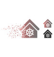 dissolved pixel halftone steering wheel house icon vector image vector image