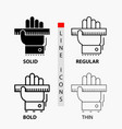 education hand learn learning ruler icon in thin vector image vector image