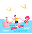 family seaside vacation flat vector image vector image