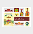 flat mexico elements composition vector image