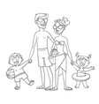 happy family on vacation coloring book vector image
