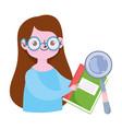happy teachers day teacher character magnifier vector image vector image