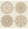 Indian doodle boho floral mehendi mandalas set vector image