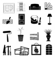 Interior design icons set vector image