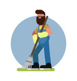 man cleans in garden with a rake vector image