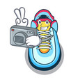 photographer cartoon sneaker with rubber toe vector image