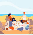 picnic seaside family relax at summer beach vector image vector image