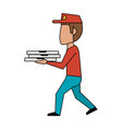 pizza deliver cartoon vector image vector image