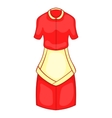 Red housewife dress with white apron icon vector image
