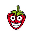 red kawaii fruits strawberry happy icon vector image vector image