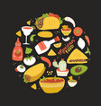 round shape composition with taste mexico vector image