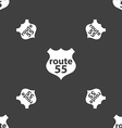 Route 55 highway icon sign Seamless pattern on a vector image
