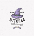 scary party witches with brooms halloween logo vector image vector image
