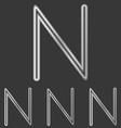 Silver line n logo design set vector image vector image