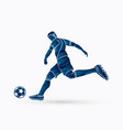 soccer player running and kicking a ball action vector image vector image