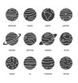 solar system planets black icons set image vector image