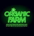 stylish logo organic farm neon font vector image