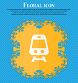 Train Floral flat design on a blue abstract vector image