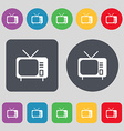 tv icon sign A set of 12 colored buttons Flat vector image