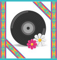vinyl and flower hippie concept vector image vector image