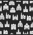 white church seamless pattern on black backdrop vector image