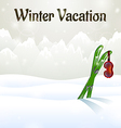 Winter vacation ski goggles on skiing vector image vector image