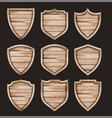 wood shield realistic wooden texture sign set vector image vector image
