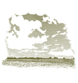 Woodcut Cloud Scene vector image vector image