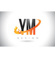 ym y m letter logo with fire flames design and vector image vector image