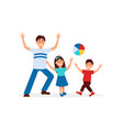 young father playing in ball with his children vector image vector image