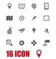 grey map icon set vector image