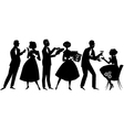 1950s party goers vector image