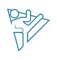 triangle shape karate kick outline sport figure vector image