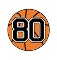 ball of basketball symbol with number 80 vector image