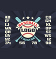 baseball logo creator with stars crossed bats vector image vector image