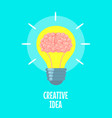 brain in light bulb creative idea metaphor vector image