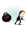 Business man burdened with Debt vector image