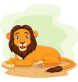 cartoon happy lion in field vector image vector image