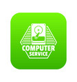 computer service icon green vector image vector image