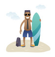 conceptual business flat banner man on beach vector image