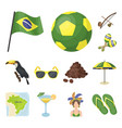 country brazil cartoon icons in set collection for vector image vector image
