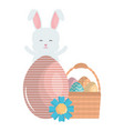 cute rabbit with easter eggs painted in basket vector image vector image