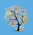 easter holiday tree sketch for your design vector image
