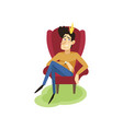egotistical modern prince sitting on a throne vector image