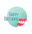 elegant happy birthday card with cake and candle vector image vector image