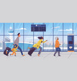 family late for plane flight concept cartoon vector image vector image