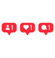 follower notification icons social media comment vector image