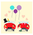 funny cars - bride and groom wedding couple vector image