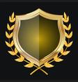 Golden Shield With Laurel Wreath vector image vector image